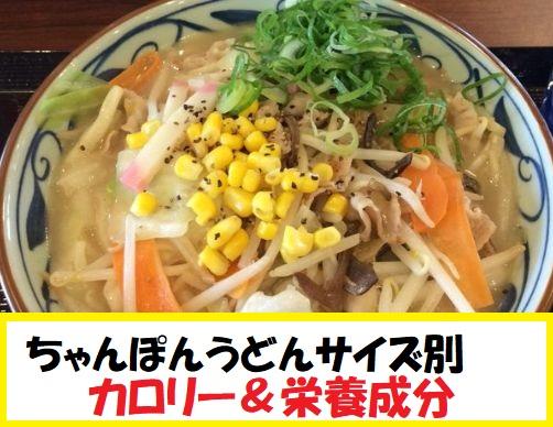 【店舗限定】丸亀製麺 ちゃんぽんうどんのサイズ別『カロリー』&『栄養成分』